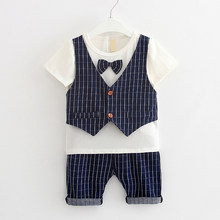 IENENS 2PC Kids Baby Boys Clothes Clothing Sets Infant Page Boy Shirt + Pants Outfits Suits Child Bow Tie Tracksuits(China)