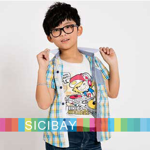 New Arrival  Baby Clothes Fashion Boy Shirts Kids Plaid Casual shirts,Free Shipping C0400