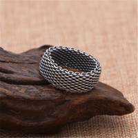 Antique Silver 925 Link Weave Band Ring Men 1.0cm Soft Band Simple 100% Real 925 Sterling Silver Material Top Craft Mens Jewelry