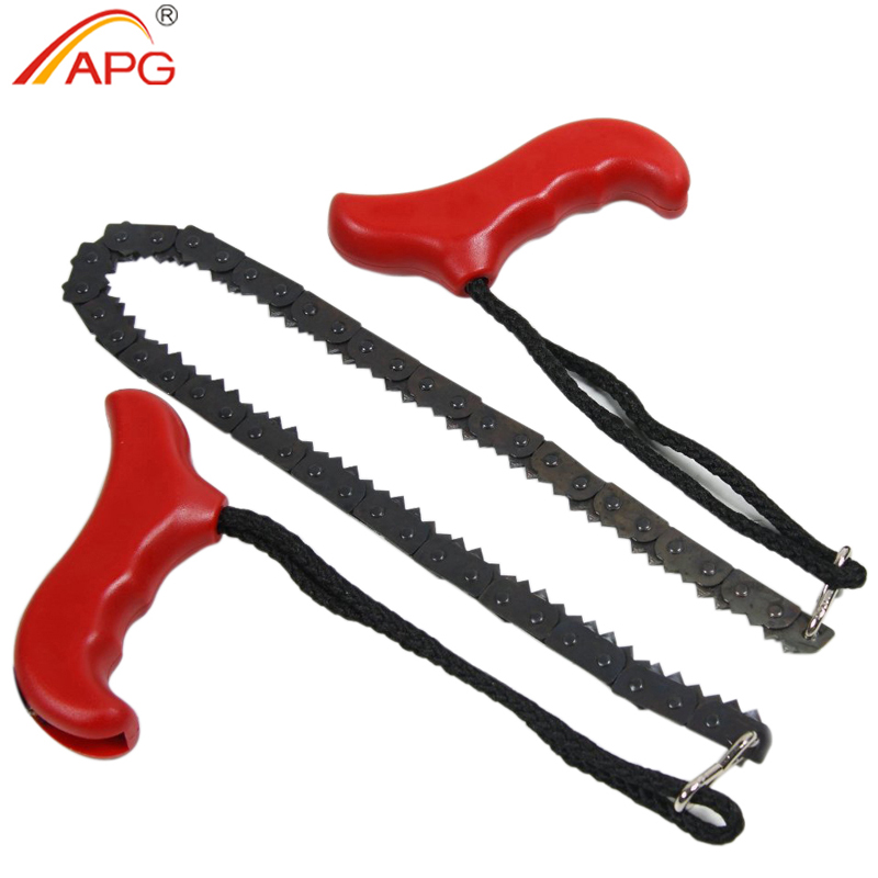 APG 90cm Pocket Chain Saw Outdoor Survival Camping Hiking Emergency Household Gardening Hand Chainsaw with Nylon Bag