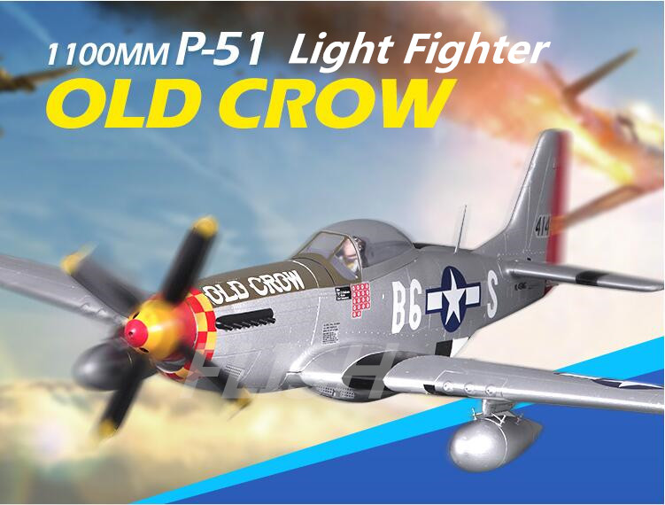 FMS 1100MM P-51D Light Fighter Old Crows World War II  Fixed-Wing RC Aircraft  fms 1100mm p 51d light fighter old crows world war ii fixed wing rc aircraft