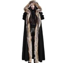 Coat Woman Cloak Long Wool Cloak Negra Coat Punk Women's Gothic Winter Black Red Thermal Hooded Coat Open Stitch Coat Unisex цена