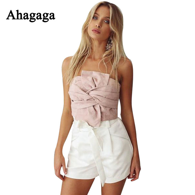 Ahagaga 2017 Spring Sexy Cute Tube Tops Bralette Pink Gray Strapless Basic Crop Tops Front Knotted Back Zipper Velvet Underwear