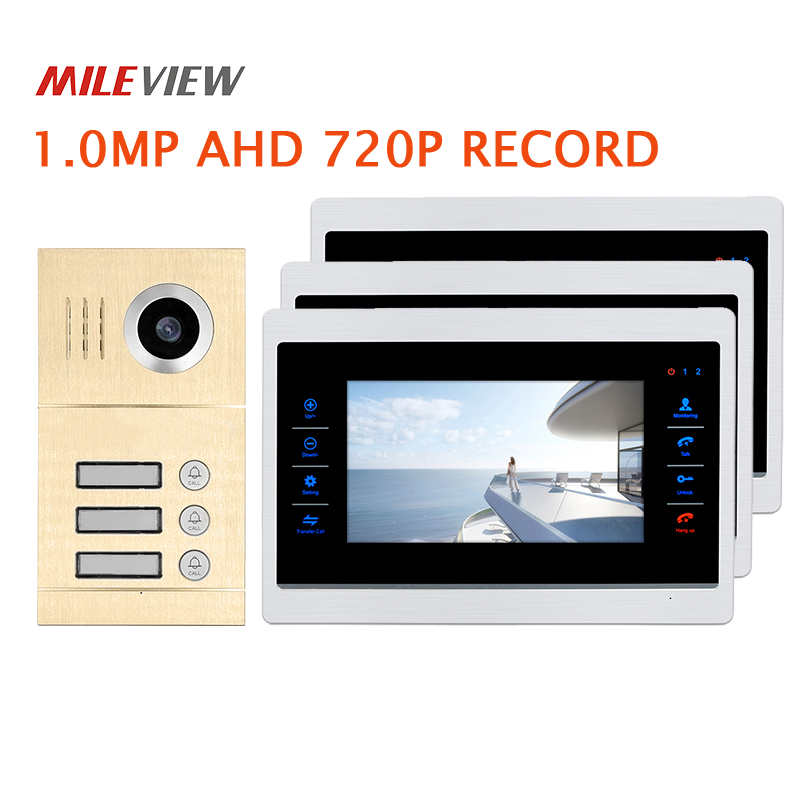 Free Shipping 3 Apartment 720P AHD 7 Video Intercom Door Phone Motion Detection System 3 Record Monitors Waterproof Door Camera my apartment