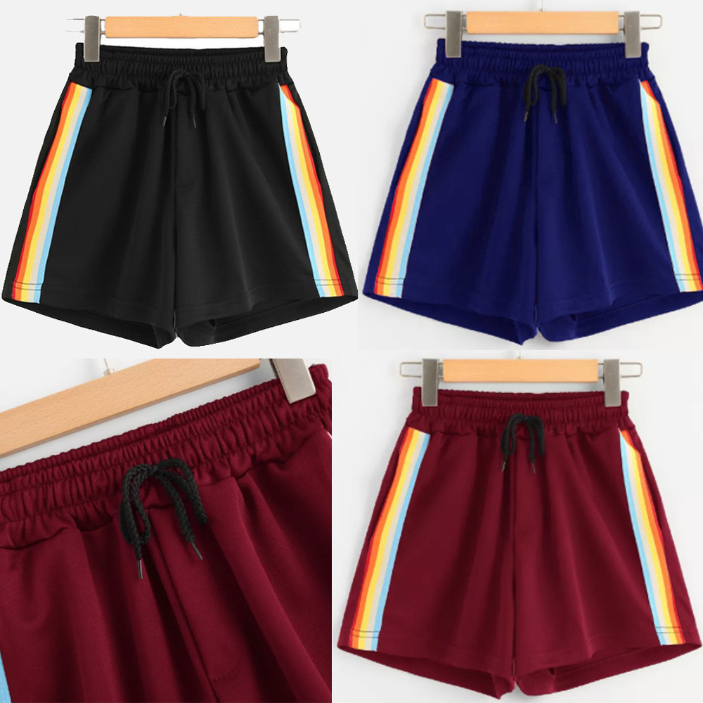 Women's Loose Rainbow   Shorts   Striped Mid Waist Loose   Shorts   Drawstring Waist Ringer   Shorts