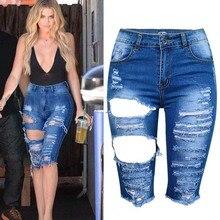 Европейский стиль плюс размер XS-3XL хлопка джинсы женщин старинные разорвал отверстие моды все матч сексуальные половинной длины джинсовые брюки женщина D3