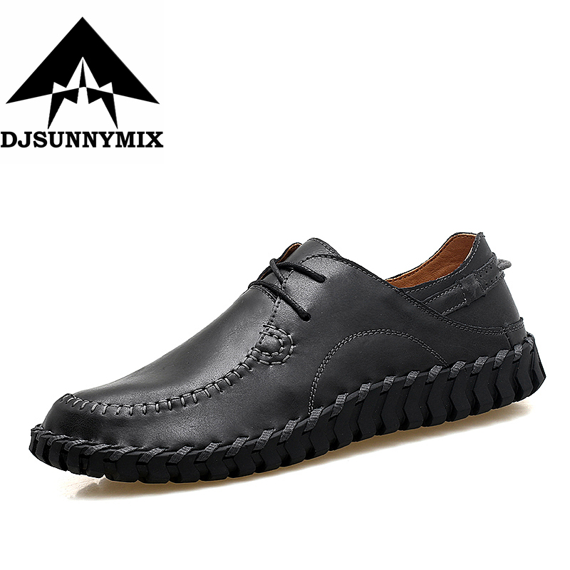 DJSUNNYMIX 2017 Top quality men flats shoes genuine leather men shoes handmade loafers Moccasins driving shoes plus size 38-47 genuine leather shoes men top quality driving flats shoes soft leather men shoes loafers moccasins breathable zapatos hombre