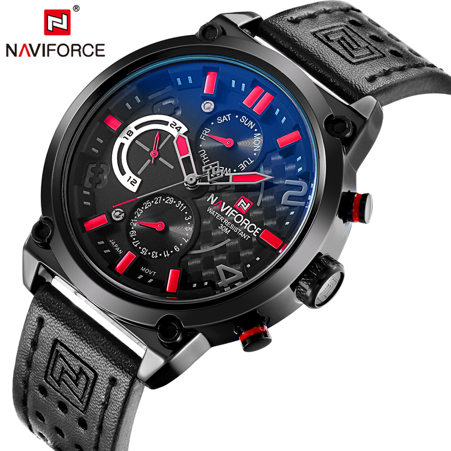 NAVIFORCE Brand Black Quartz Watch Men Functional Small Hands Leather Date Wristwatch Male Clock Sport Watches Relogio Masculino new listing men watch luxury brand watches quartz clock fashion leather belts watch cheap sports wristwatch relogio male gift