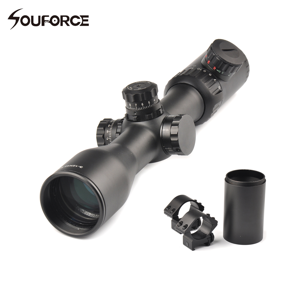 3-12x42 Side Focus Optical Sight Scope Mil-Dot Reticle Red Green Black illumination with Extinction tube and 20mm Scope Mount 4x 30mm red green mil dot reticle rifle scope with gun mount black 3 x ag13 1 x cr2032