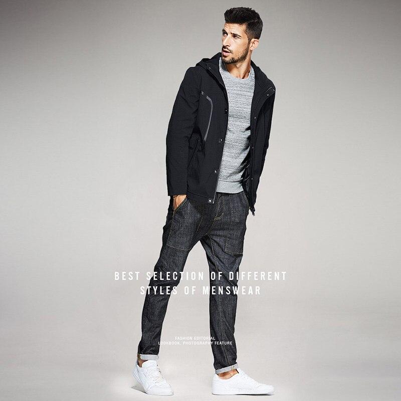KUEGOU جديد الخريف رجل جاكت مزود بغطاء للرأس و معاطف خليط سستة أسود اللون العلامة التجارية الملابس الرجل ضئيلة الملابس الذكور قمم 0715-في جواكت من ملابس الرجال على  مجموعة 2