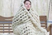 Big Rope Acrylic Wool Blanket Knit Crochet Braid Iceland Luxury Throw Blanket Photography Props Backdrops Sleeping Bed Wrap