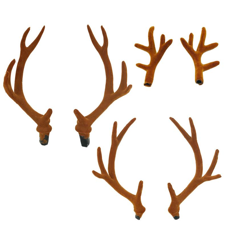 A Pair Simulation Antlers   Headwear   Flocking Artificial Sika Deer Antlers DIY Accessories For Christmas Party Supplies Horns Cos