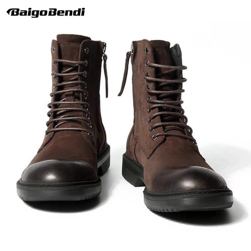 Must Have Mens Genuine Leather Lace Up Soliders Mid-calf Retro Boots Casual Zip Winter Fur Lined Motorcycle Boots