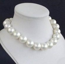 New 14MM Round White Sea Shell Pearl Necklace Women Girls Gifts Beads Round Stone Ornaments Beads Fashion Jewelry Making Design