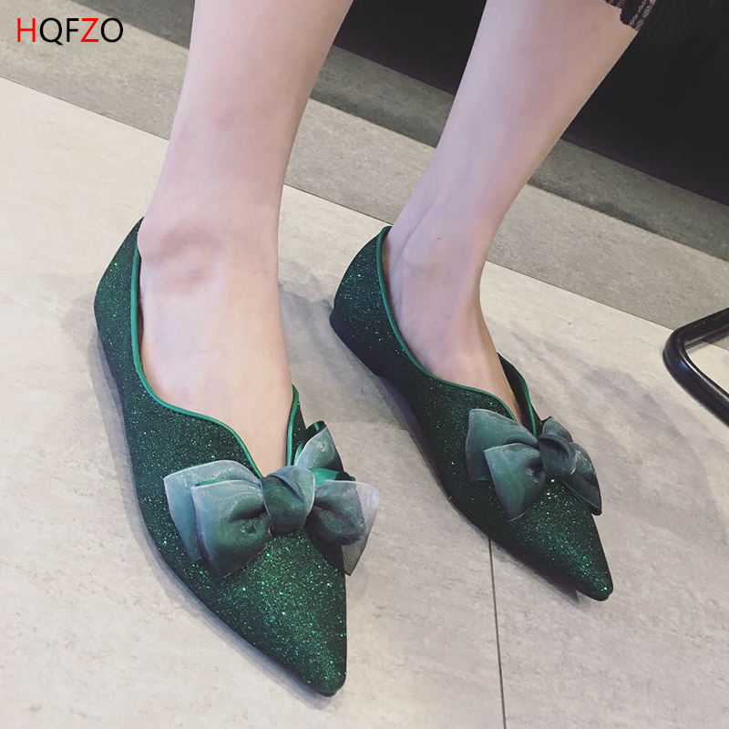 V 2019 Zapatos Black Ballet Mujer Resbalón Mujeres Hqfzo Open Alpargatas green Bowknot Bling De Punta Plana Nuevos Lentejuelas Sandalias En OqwndfSA