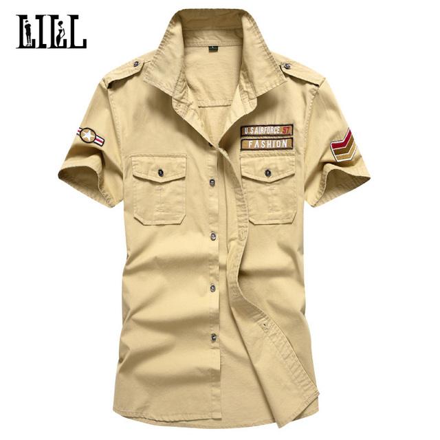 Vôo Dos Homens M-6XL Camisa Verão Respirável EUA Air Force 57 Estilo Militar Manga Curta Camisas de Algodão Dos Homens Do Exército Masculino camisa, UMA430