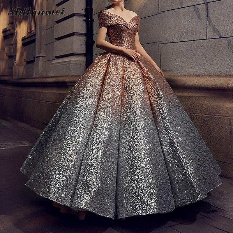 Винтаж Сексуальная с плеча V шеи блесток этаж Длина платье для женские элегантные Вечеринка платья Женский Bling Vestidos