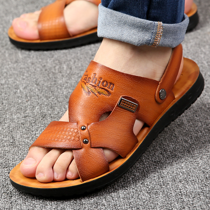 Qwedf Men Sandals 2019 Summer Breathable Leisure Sandals Shoes Male Lightweight Leather Flip Flops Comfortable Beach Shoes Se-70 Fancy Colours Men's Shoes Men's Sandals
