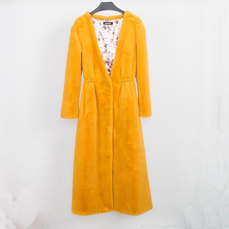 النيرازوري فو الفراء معطف المرأة طويلة الأصفر رقيق سترة العميق الخامس الرقبة فروي وهمية الفراء زائد حجم السيدات معطف شتاء 5xl 6xl 7xl-في فراء صناعي من ملابس نسائية على  مجموعة 3