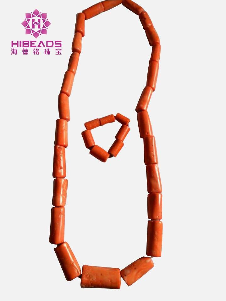 Nigeriano contas de coral dos homens africano coral colar pulseira de casamento conjunto de jóias para o noivo homem conjunto de jóias frete grátis cnr822