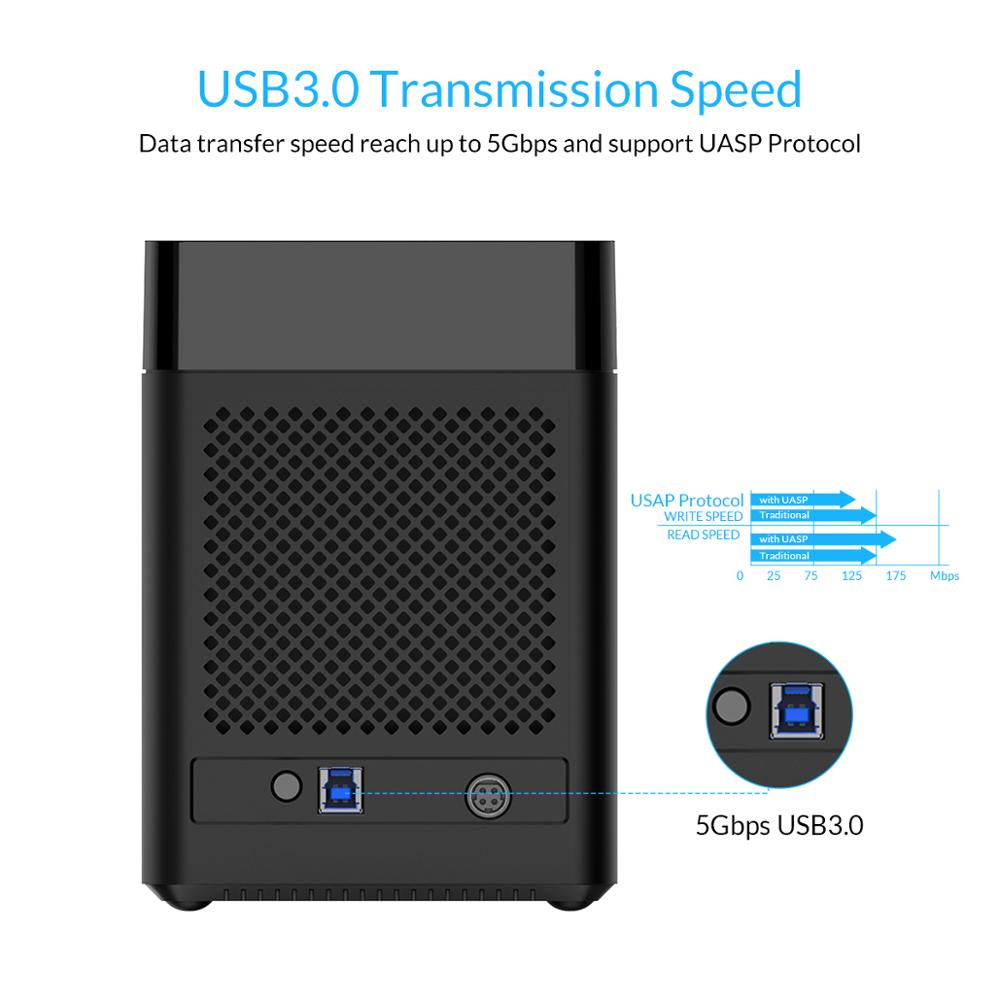 ORICO 5 baies de type magnétique 3.5 pouces USB3.0 HDD Station d'accueil Support 50 to Max 5Gbps UASP HDD boîtier sans outil HDD boîtier 12V - 3