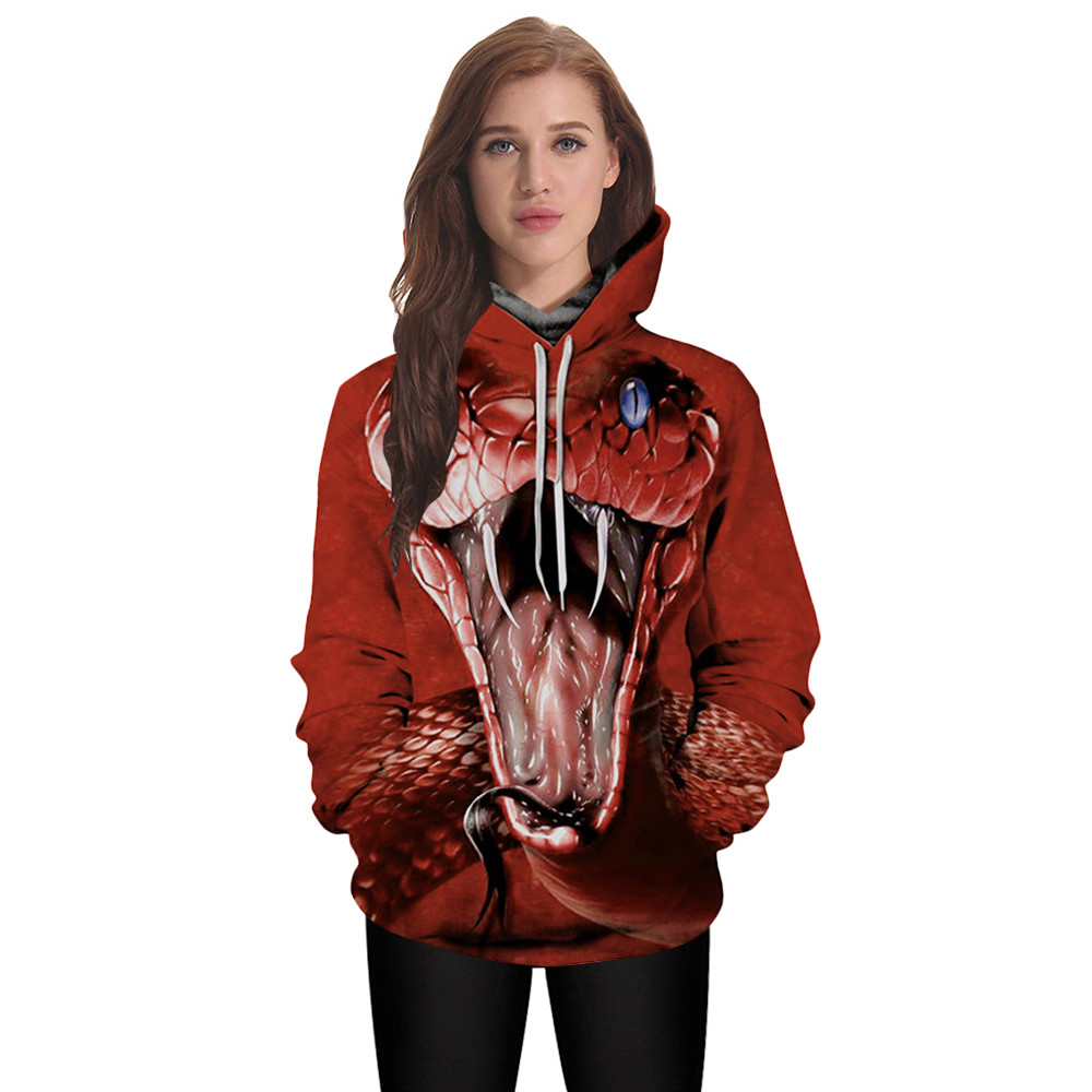 Womail Autumn Winner Women Men Sweatshirts Long Sleeve Hooded 3D Red Snake Digital Printing Women Hoodies Sweatshirts #A30