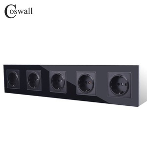 Image 3 - COSWALL Wall Crystal Glass Panel 5 Gang Power Socket Grounded 16A EU Standard Quintuple Outlet With Children Protection Door