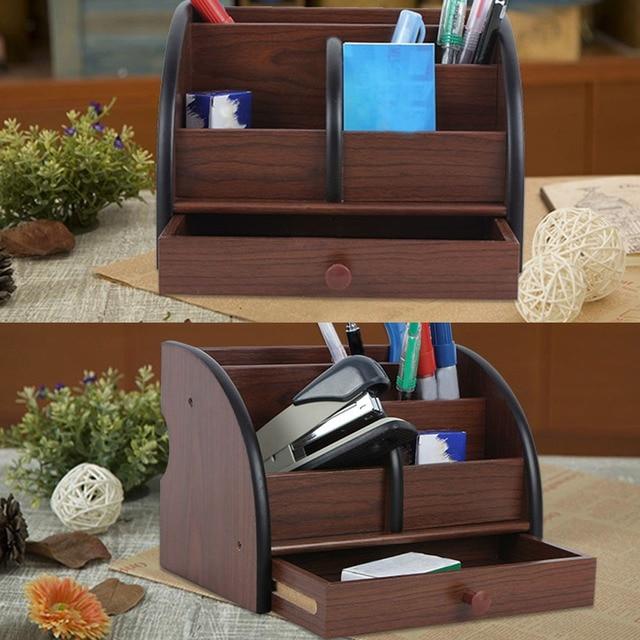 Behogar Wooden Multi-functional Office Desk Organizer Storage Box Case Desktop Makeup Phone Pen Stationery Stand Holder Supplies