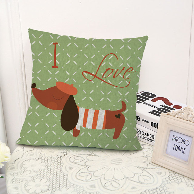 Miracille Square 18″ Dachshund Dog Cushion Cover