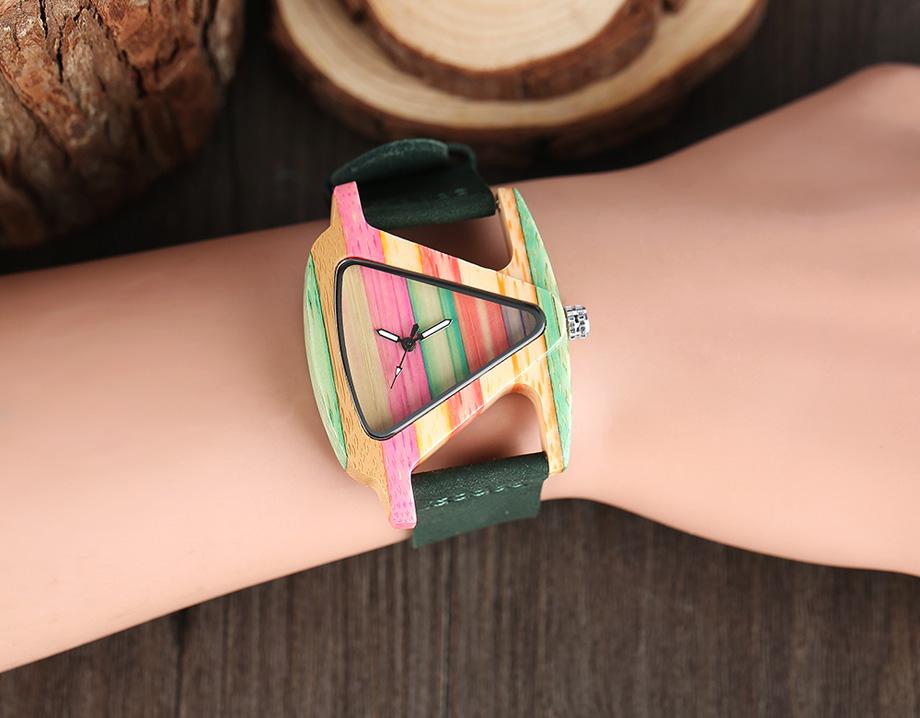 Creative Women Wood Watches Unique Colorful Wooden Triangle Hollow Quartz Wristwatch Ladies Elegant Fashion Genuine Leather Hour (15)
