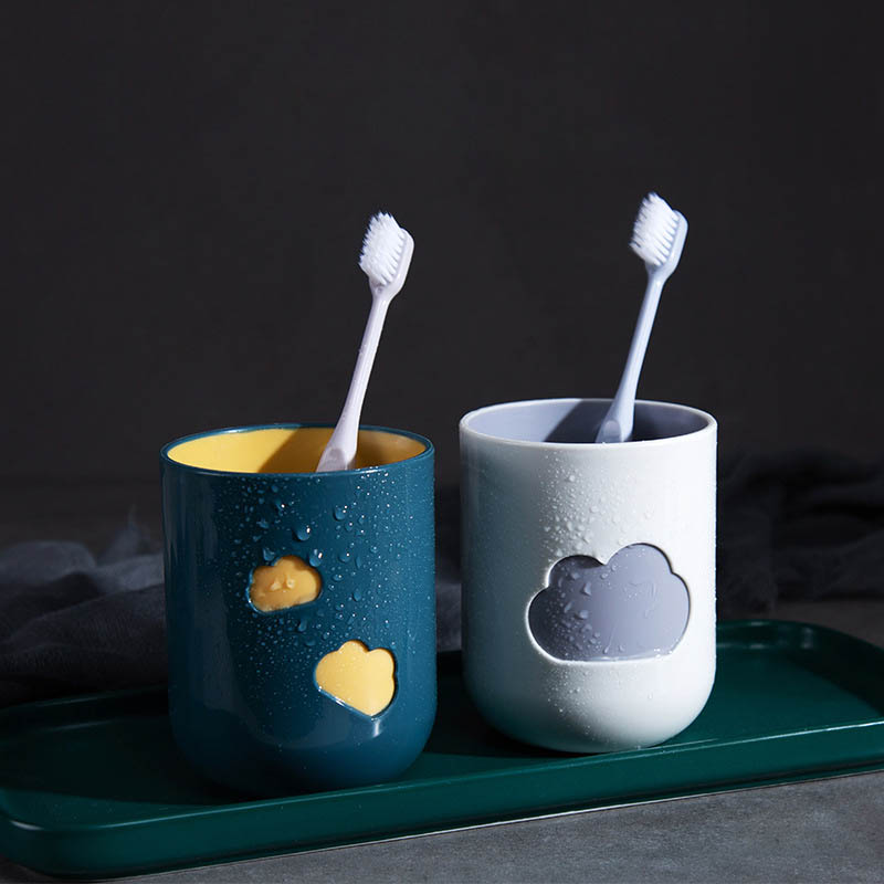 Toothbrush Cup 1Pcs Plastic Cloud Pattern Wash Tooth Mug Durable Big Mouth Couples Cups Environmental Friendly Bathroom Supplies image