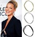 3 piezas de las mujeres de la moda brillo diadema elástica de alta calidad Bling Hairband diadema niñas doble pelo accesorios para el cabello