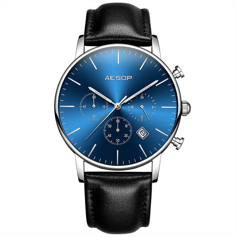 Ezopa ultra-cienki zegarek mężczyźni luksusowe człowiek sportowy zegarek na rękę kwarcowy skóry mężczyzna zegar męskie zegarki na rękę wodoodporny Relogio Masculino