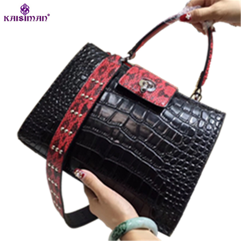 Famous Luxury Brand Designer Shoulder Bags Women High Quality Crocodile Pattern Genuine Leather Bags Woman Tote Bag Handbags Sac qiaobao luxury women bags designer handbags high quality genuine leather bag famous brand retro shoulder bag rivet sac a main