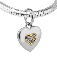 Authentic 925 Sterling Silver Two Tone Signature Heart Pendant Charm Beads For Jewelry Making Fits Bracelet