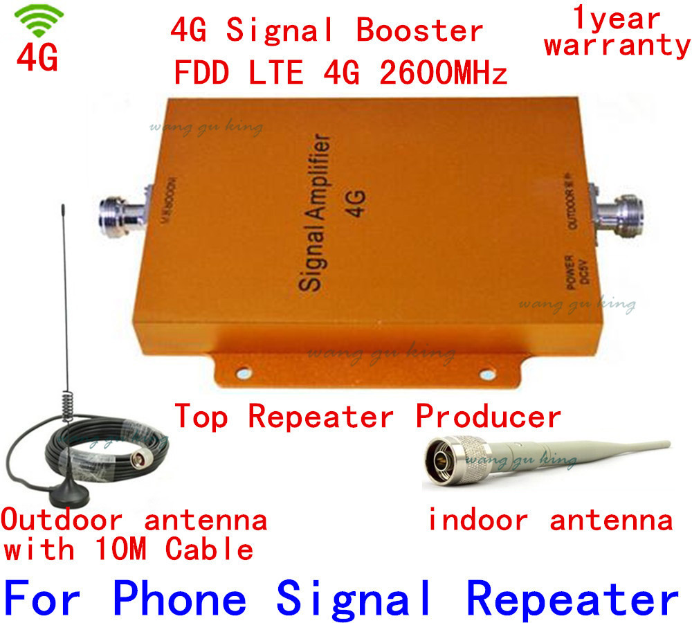 4G LTE 2600MHz Cell Phone Signal Repeater Amplifier High Gain 65dbi 4G Mobile Phone Signal Booster With Cable + Antenna