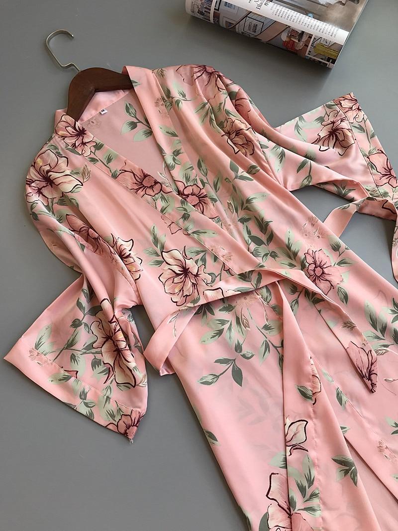 ece90244c Sexy Bridesmaid Short Satin Bride Robe Lace Kimono Women Wedding Sleepwear  Summer Female Bathrobe Lingerie Clothes ...