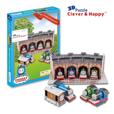Candice guo 3D puzzle DIY toy paper building model assemble anime cartoon THOMAS & friends locomotive train house baby gift 1set new fashion boys cartoon locomotive set thomas