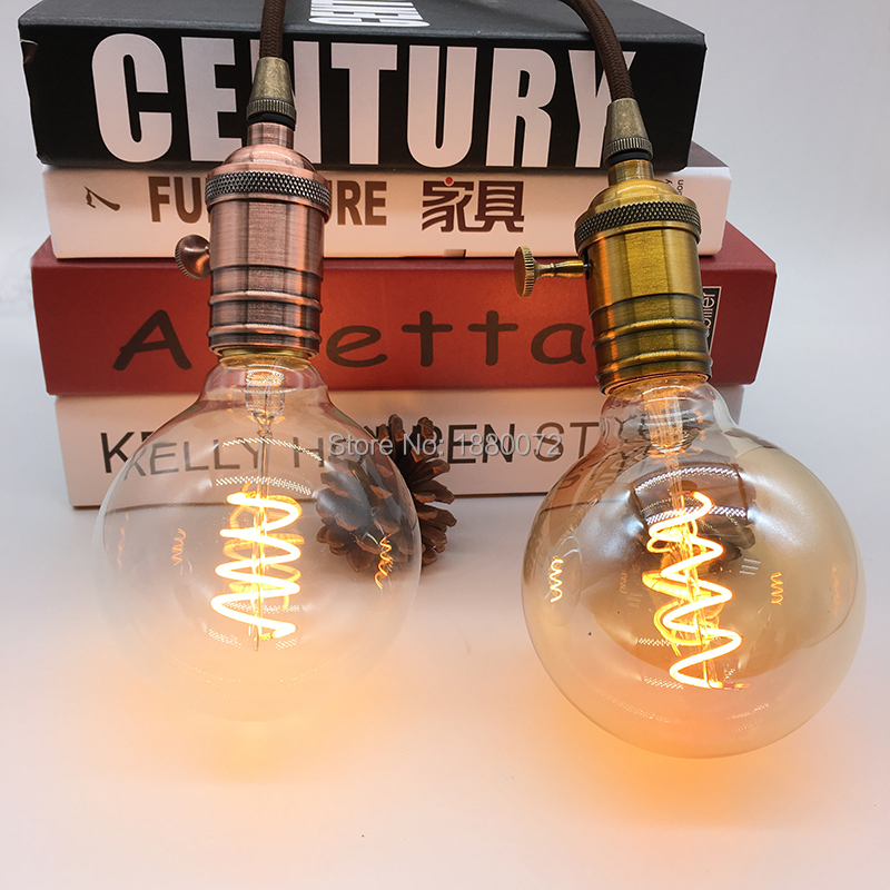 vintage Edison style LED filament bulb 4W G95 antique soft