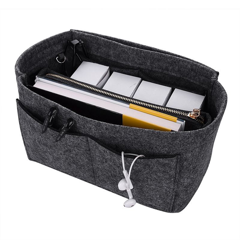 Make Up Organizer Felt Insert Bag For Handbag Travel Inner Purse Portable Cosmetic Bag Organizer Suitable For Neverfull Handba