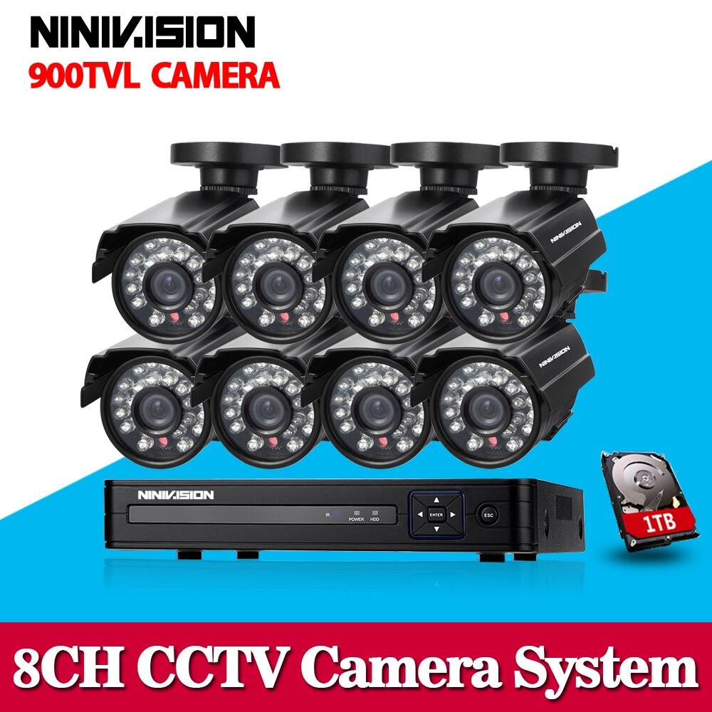 NINIVISION 8CH CCTV System 8PCS HD 900TVL Weatherproof Video Surveillance Camera Day/Night 8CH HDMI DVR Security Set 1TB HDD
