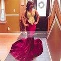 Verdadeiro Amostra V neck Mangas Lace Top Sereia de Ouro Africano Vestido do baile de finalistas 2017 Menina Tribunal Trem Longo Borgonha Velvet Prom Dress vestidos