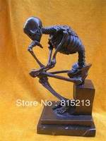 wang 00059 Wonderful Bronze Skull Thinker Sculpture Statue