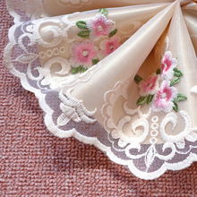 1Meter 18cm Wide Flower Embroidered Lace Trims Applique Tulle Curtains Sofa Cover Clothes Bedding Edge Fabric Mesh DIY