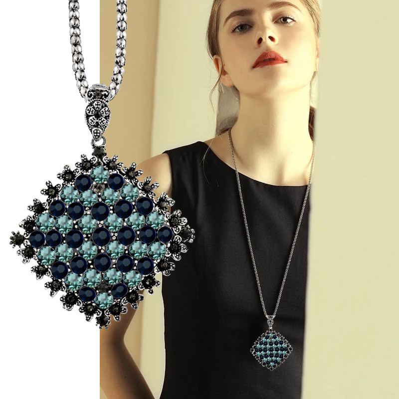 SINLEERY Vintage Full Dark Blue Rhinestone Big Pendant Long Necklace for Women Antique Silver Color Statement Jewelry MY433 SSB