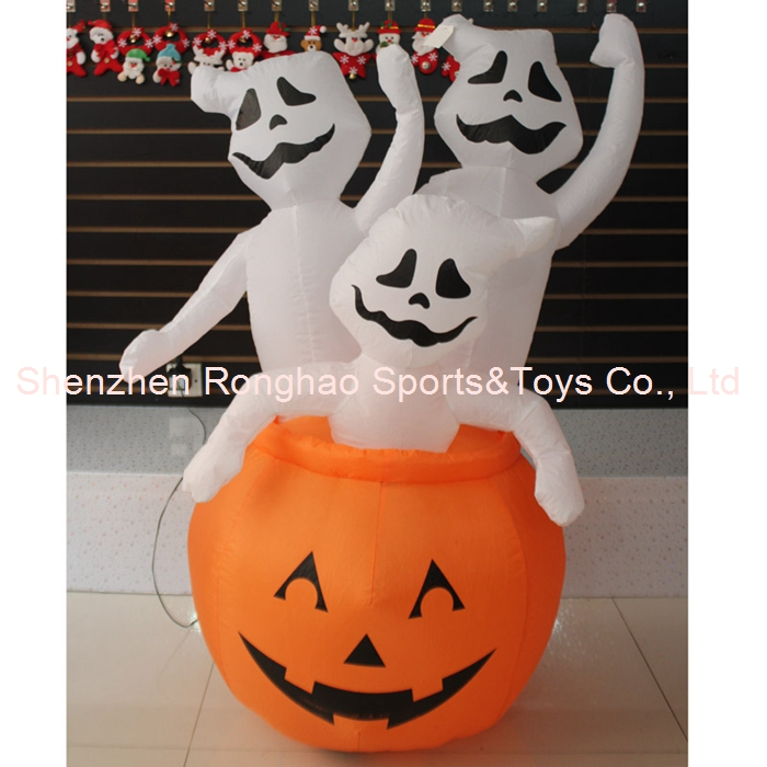Foot animated halloween inflatable pumpkin and three