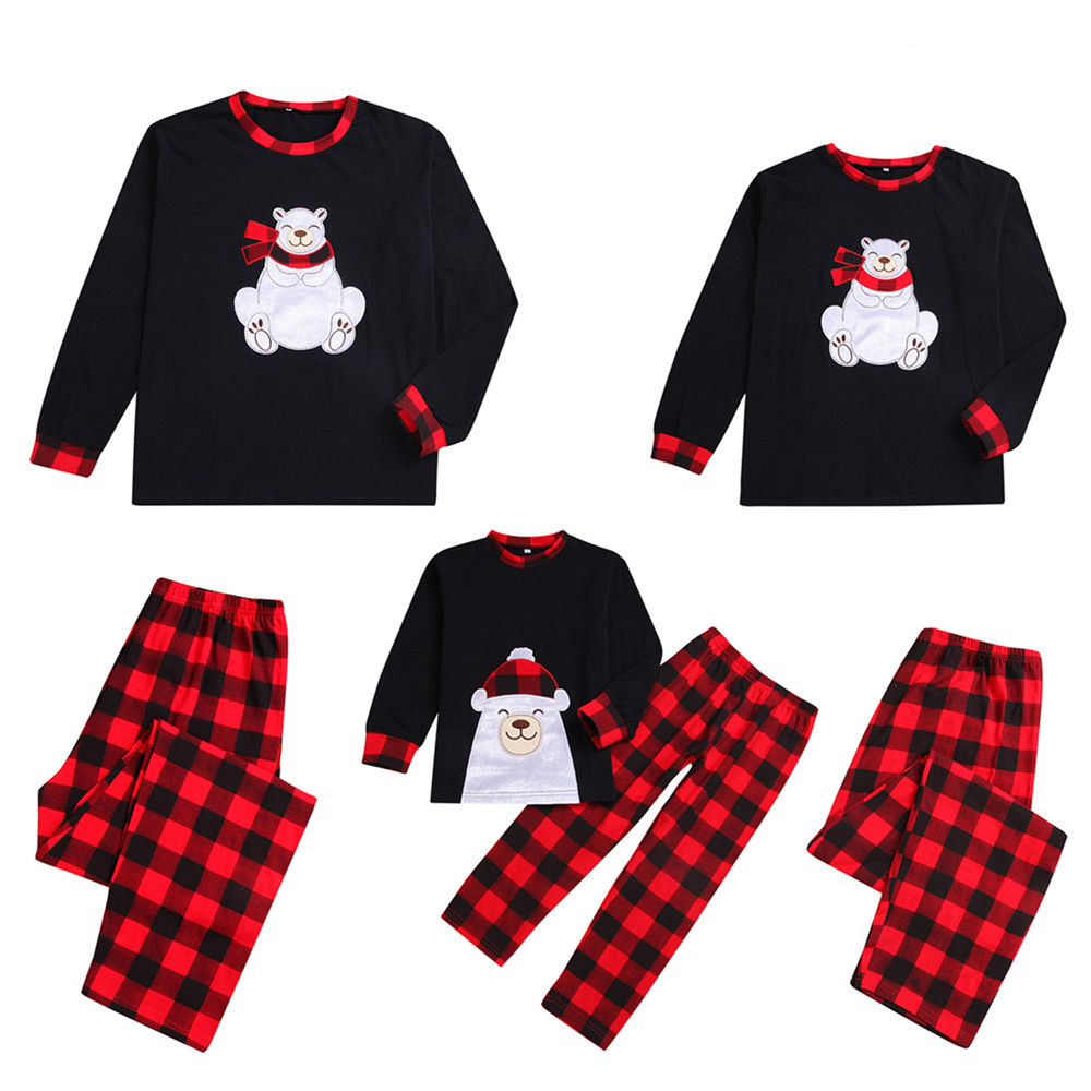 Kids Family Matching Christmas Bear Pajamas Plaid Pants Set Sleepwear Nightwear Cotton Plaid noel Sleepwear Winter in 2019 #ss plaid