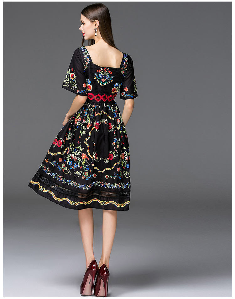 4e8c52bfc2b QYFCIOUFU Fashion Runway 2018 Summer Dress Women s Short Sleeves Casual  Black Dress Floral Printed Splice Vintage Dress-in Dresses from Women s  Clothing on ...