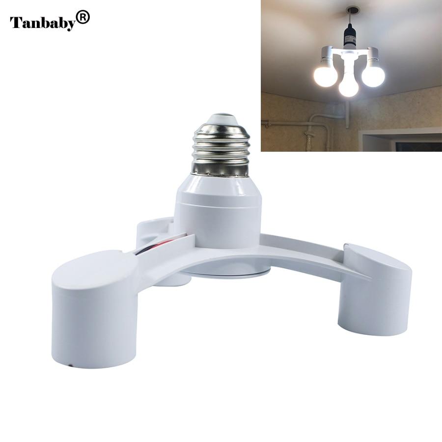 3In1 E27 To E27 Extended LED Lamp Bulbs Socket Splitter Adapter Holder For Photo Studio