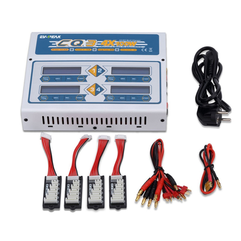 ФОТО new arrival ev-peak cq3 4x100w 10a 110/220v 1-6s rc battery balance charger for rc camera drone accessories